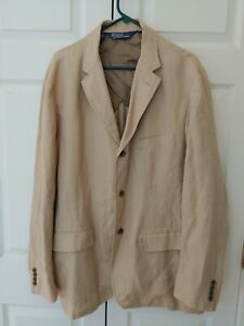 Men Tan Polo Ralph Lauren 100% Linen 3 Button Jacket Blazer Sport Coat Size XL