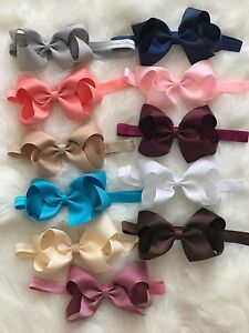 Big-Bow-Baby-Girls-Headbands-Bow-Soft-Headbands-Elastic-Band-5-Inches-Hair-Lot