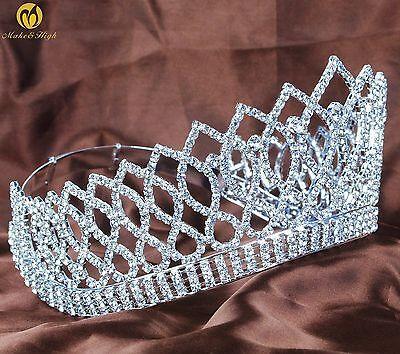 "Wedding Bridal 3.5"" Tiaras Crowns Austrian Rhinestones Contoured Women Headband"