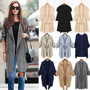 Plus Size Women's Waterfall Cardigan Open Front Trench Duster Coat ...