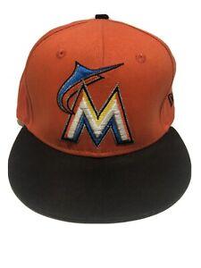 miami marlins new era MLB 59fifty Adjustable Hat orange W/black Brim