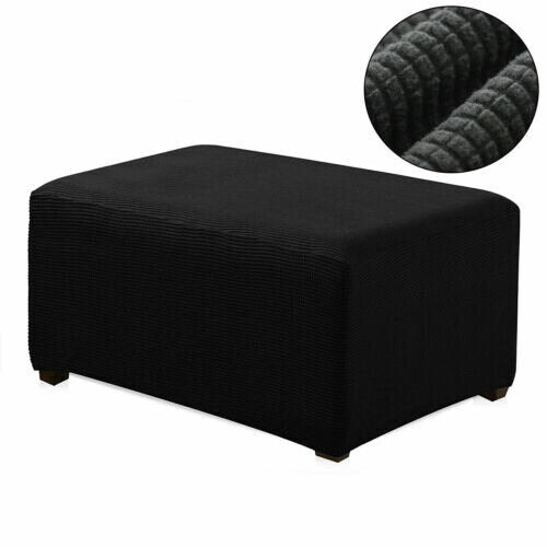 Fleece Sofa Footstool Cover Stretch Storage Ottoman Slipcover Protector US Stock