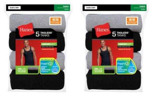 Black//Grey 10-Pack Hanes Men/'s FreshIQ Dyed Tank Top T-Shirt S-XL