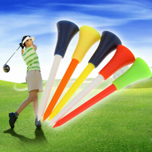 50-x-Golf-Tees-83mm-bunt-gemischt-Plastik-Gummi-Top-Tee-Golftees-Ballmarke-Q3G0