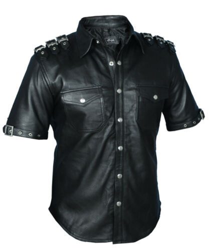 ROCK REAL LEATHER Mens Black PUNK GOTH Shirt BLUF Most Sizes
