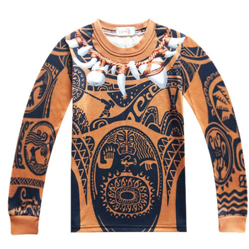 Moana Maui Boys Cosplay Costume Long Sleeve T-shirt Pants 2020 Party Outfit Set