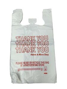 Details About Hdpe Handled Plastic T Shirt Bags Grocery White With Thank You Print