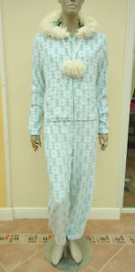 Loungeable-Womens-Light-Green-White-Plush-Hooded-One-Piece-Sleepsuit-sz-L
