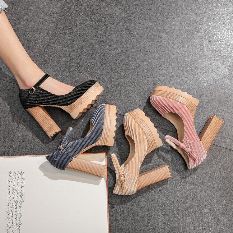 Chaussures femme en daim Chunky Talons Hauts Cheville Sangles Plateforme chaussures Escarpins Party gic01