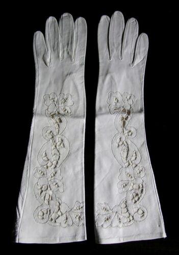 Vintage Hansen Ladies Long White Leather Evening G