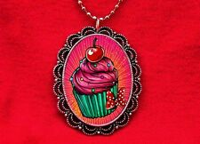 CUPCAKE CHERRY CAKE BAKER SWEETS 2 PENDANT NECKLACE
