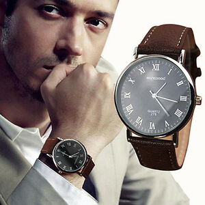 Men's Roman Numerals Faux Leather Band Quartz Analog Business Wrist Watch Handy by Blackgall2014us