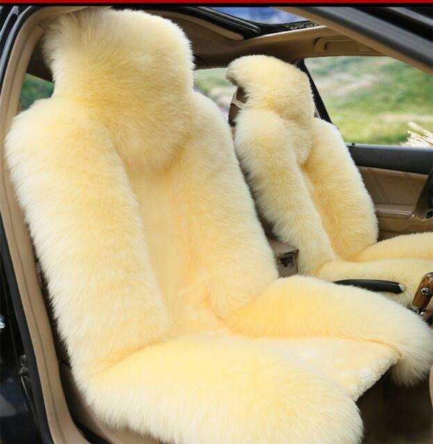 100 Real Beige Sheepskin Long Wool Car Seat CoversUniversal FitPair