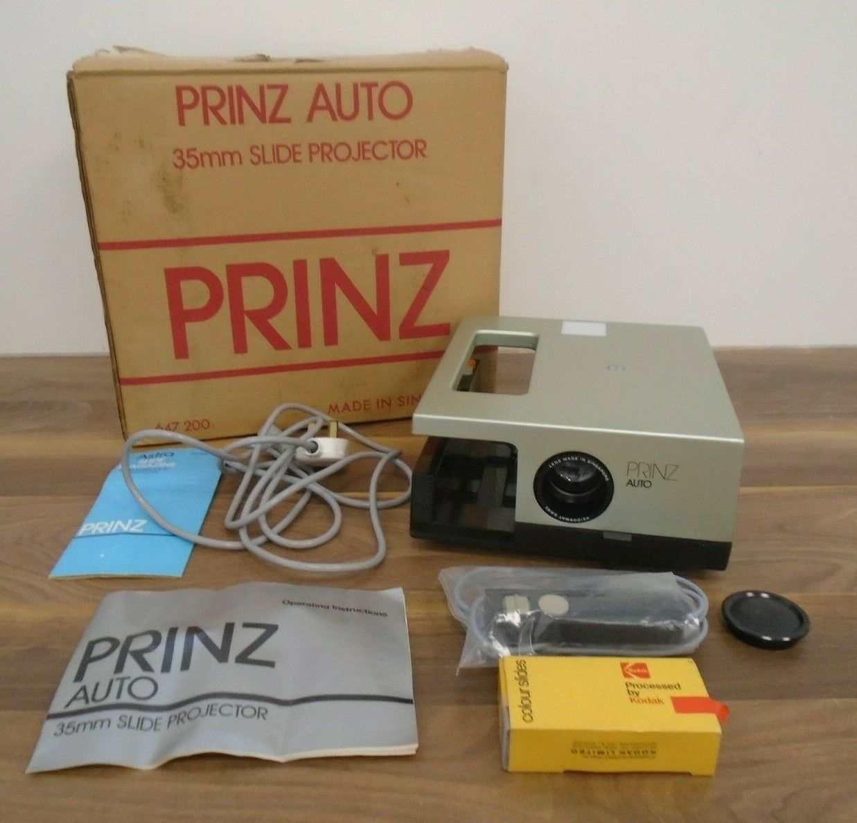 Prinz Auto 35mm Slide Projector Green Instructions Cables Boxed Tested Working