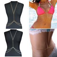 Fashion Jewelry Harness Bikini Crossover Waist Belly Body Chain Link Necklace