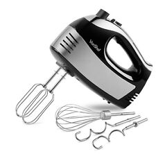 VonShef 400W Hand Food Mixer Electric Whisk Beaters Dough Hook 5 Speed Black