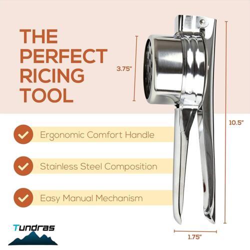 Fine//Med//Coa Stainless Steel Potato Ricer,Manual Masher 3 Interchangeable Discs