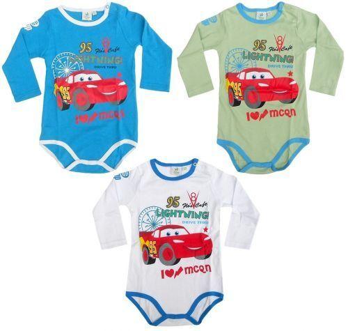 Disney Cars Baby Body Mcqueen Auto Baumwolle Bodydress Weiß//Gelb//Grün