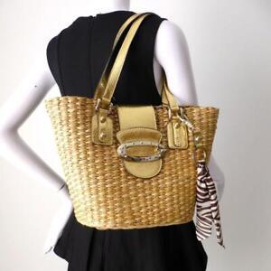 Handbag Gold Straw Large Tote Per