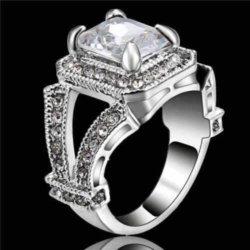 White Zircon Cristal Bague Femme 18KT Or blanc rempli Mariage Bande Taille 7
