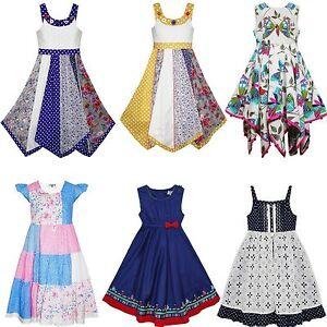 04022b6ea24 Domino Robe Fille Enfants Patchwork Fleur Papillon Sans Manche Robes ...
