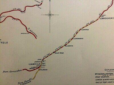 VALE OF TOWY JOIINT RAILWAY MAP 1922 LLANDILO CYNGHORDY LLANWRDA TALLEY RD