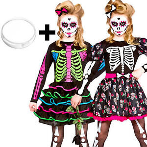 Image is loading Skeleton-Facepaint-Girls-Fancy-Dress-Day-Of-The-  sc 1 st  eBay & Skeleton + Facepaint Girls Fancy Dress Day Of The Dead Halloween ...