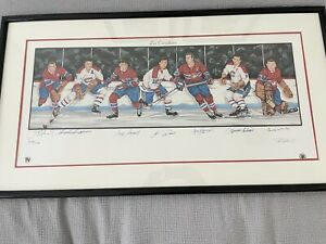 """Montreal Canadiens Litho Autographed (7) HOFers  39""""x18"""" Matted & Framed COA JSA"""
