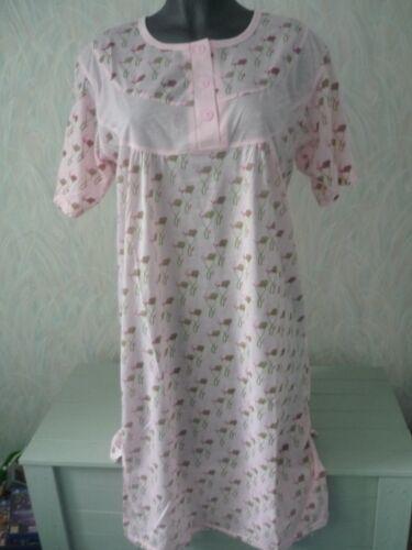ladies long short sleeve nightie night wear 5 colours M-L-XL-XXL New