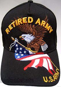 a7a5b1d2cf0 U.S.ARMY RETIRED Cap Hat w Eagle   Flag Black Military