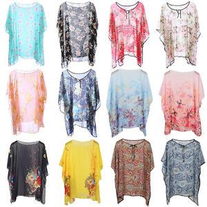 Womens-Ladies-Kimono-Loose-Waterfall-Chiffon-Kaftan-Poncho-Top-shirt-Plus-Size