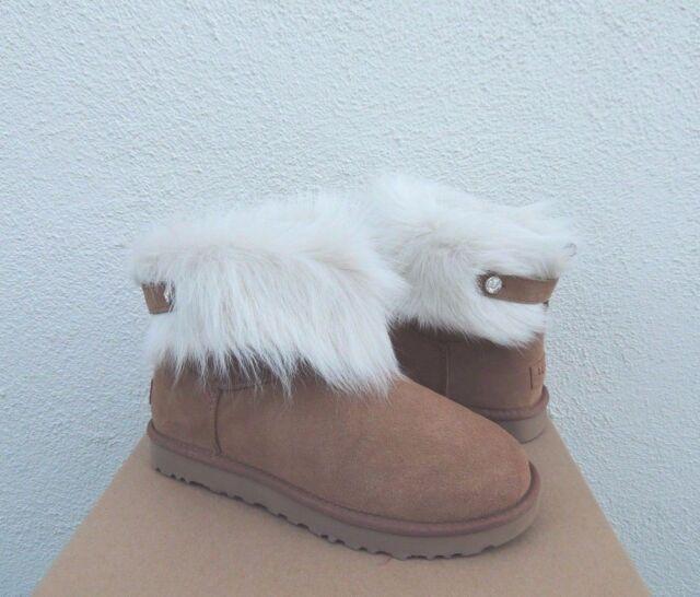 b80856fadac UGG Australia Uggs Valentina Crystal Button Shearling Fur BOOTS 10 Chestnut