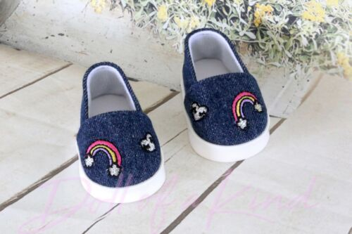 American Girl Doll Shoes Rainbow Denim Canvas for 18/'/' doll shoes cloth