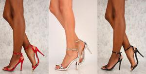 ba52fc9d87b Lot Sexy Black Red Silver Open Toe Single Sole High Heels Patent ...