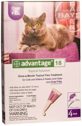 Bayer Advantage 18 Flea Control Purple For Cats Over 9 Lbs 4 PACK FREE SHIPPING