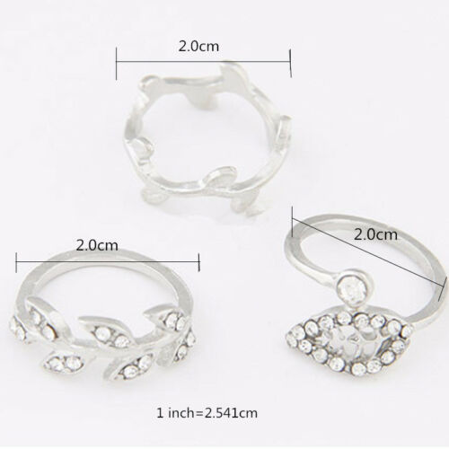 New Sale 3PCS Women/'s  Alloy  Gold//Silver  Rhinestone  Leaf  Knuckle Finger Ring