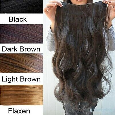 "Women Ladies Long Curly Wavy 6 Clips In On Hair Extensions Full Head Top 29"" New"