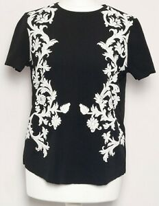 ZARA-Black-White-Floral-Print-Embroidered-Short-Sleeve-Boxy-T-Shirt-Top-Size-S-8