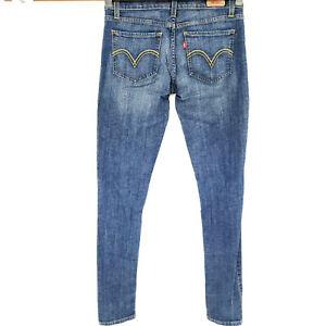 Levi-039-s-Women-039-s-Jeans-Sz-5-Long-Too-Superlow-524-Skinny-Stretch-Dark-Wash-Casual