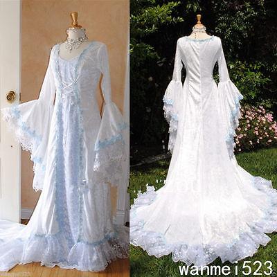Irish Wedding Dress.Long Celtic Wedding Dresses Sweep Train Corset Bell Sleeve Medieval Bridal Gowns 7065619688950 Ebay