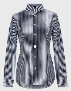 Polo-Ralph-Lauren-Femme-Slim-Kendall-Chemise-en-Noir-Blanc-Rayures-UK-8