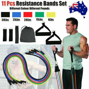 Aussie-Stock-bandas-de-resistencia-11Pcs-Set-Elastico-Tubo-Casa-Fitness-Yoga-Entrenamiento