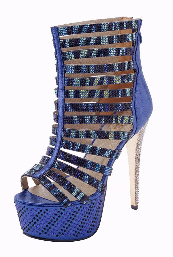 Blue cage stiletto High high heels, EU Size 38, Blue High stiletto Heels, Cage Heels, 428658
