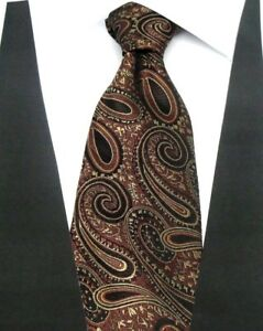 Wide Brown Woven 100/% Pure Silk Neck Tie with a Modern Gold Colour Design