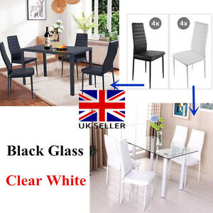 Image Is Loading Panana Black Clear Glass Dining Table Set Amp