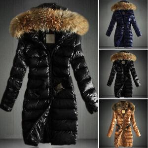 Women-Glossy-Puffer-Coat-Jacket-Hooded-Fur-Collar-Long-Parka-Winter-Warm-Outwear