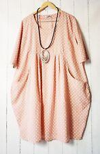 Moonshine Kleid Ballonkleid 50 52 54  Rosa Lagenlook Pünktchen Dots Sommer Neu