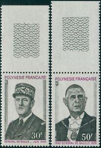 French-Polynesia-1971-Sc-270-271-SG145-146-General-de-Gaulle-death-set-MNH