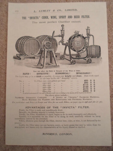 """INVICTA"" CIDER WINE SPIRIT+BEER FILTER Image Copy Print Lumley+Co Minories #412"