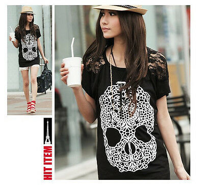 Korean Casual Skull Lace Short Sleeve Loose T Shirt Blouse Top S M L hot sale